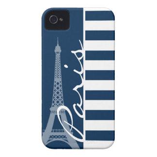 Paris; Dark Midnight Blue Horizontal Stripes iPhone 4 Case-Mate Case