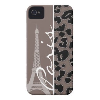 Paris; Deep Taupe Leopard Animal Print iPhone 4 Cases