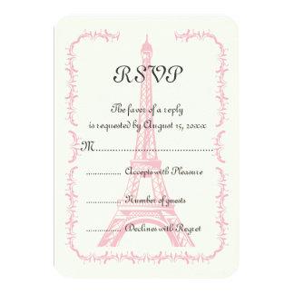 Paris destination wedding pink Eiffel Tower RSVP Invite