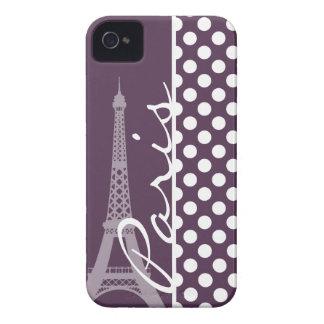 Paris; Eggplant Purple Polka Dots iPhone 4 Case
