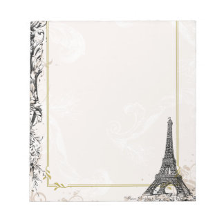 Paris Eiffel Tower and Scrolls Notepads