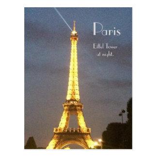Paris: Eiffel Tower at night. Postcard