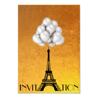 Paris Eiffel Tower Balloons White Gold 9 Cm X 13 Cm Invitation Card