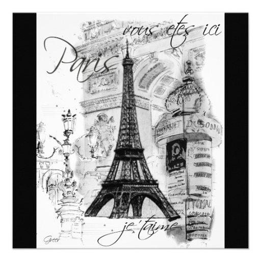 Paris Eiffel Tower Black & White Collage Custom Announcements