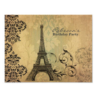 paris eiffel tower floral vintage birthday party 11 cm x 14 cm invitation card