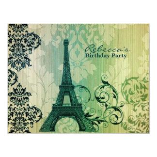 paris eiffel tower floral vintage birthday party 11 cm x 14 cm invitation card