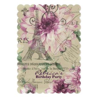 paris eiffel tower floral vintage birthday party 13 cm x 18 cm invitation card