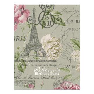 paris eiffel tower floral vintage birthday party announcements