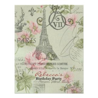 paris eiffel tower floral vintage birthday party invite