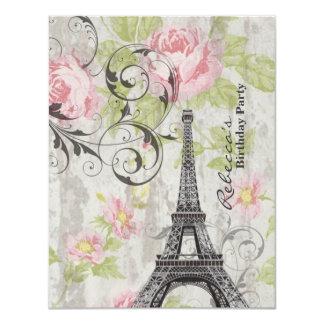paris eiffel tower floral vintage birthday party announcement