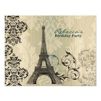 paris eiffel tower floral vintage birthday party invitations
