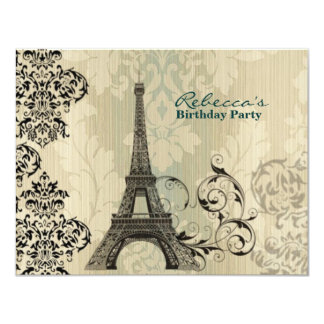 paris eiffel tower floral vintage birthday party invitations