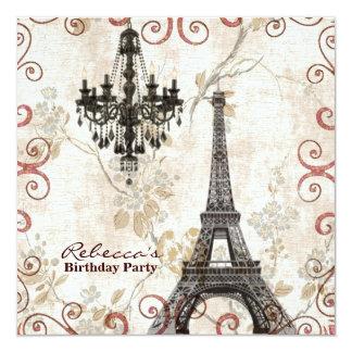 paris eiffel tower floral vintage birthday party custom invite