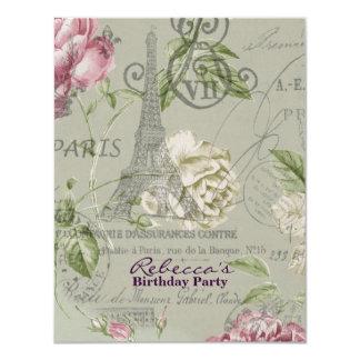 paris eiffel tower floral vintage birthday party custom invitations