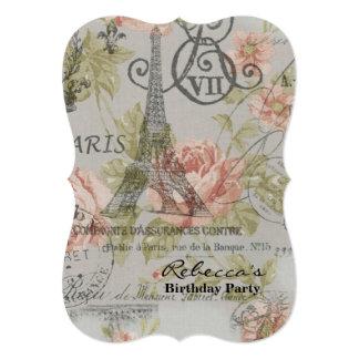"paris eiffel tower floral vintage birthday party 5"" x 7"" invitation card"