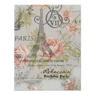 paris eiffel tower floral vintage birthday party custom announcement