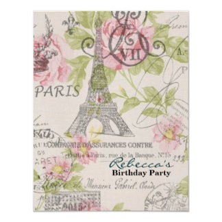 paris eiffel tower floral vintage birthday party personalized announcement