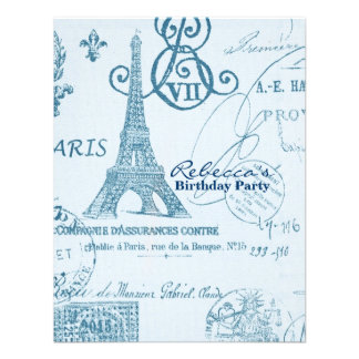paris eiffel tower floral vintage birthday party personalized invitations