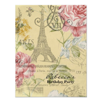 paris eiffel tower floral vintage birthday party custom invitation
