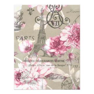paris eiffel tower floral vintage birthday party custom announcements