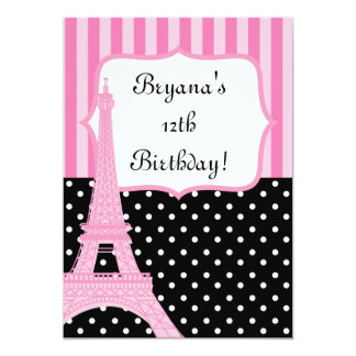Paris Eiffel Tower French Dots Pink Invitation