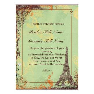 Paris Eiffel Tower Green Wedding Invite