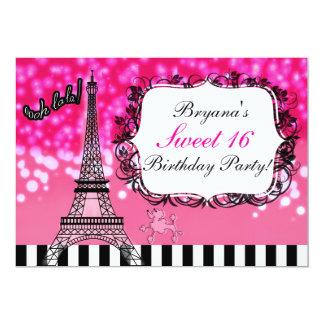 Paris Eiffel Tower Hot Pink Sparkles Invitation