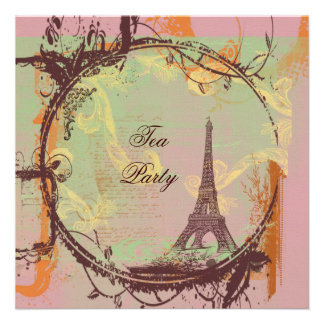 Paris Eiffel Tower in Rose Personalized Announcement