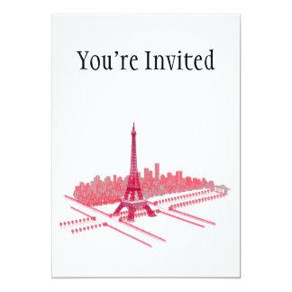 Paris Eiffel Tower Modern Sketch 13 Cm X 18 Cm Invitation Card