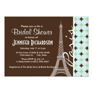Paris; Eiffel Tower; Sage Green & Brown Custom Invite