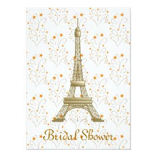 Paris Eiffel Tower Scroll Pattern Bridal Shower 14 Cm X 19 Cm Invitation Card
