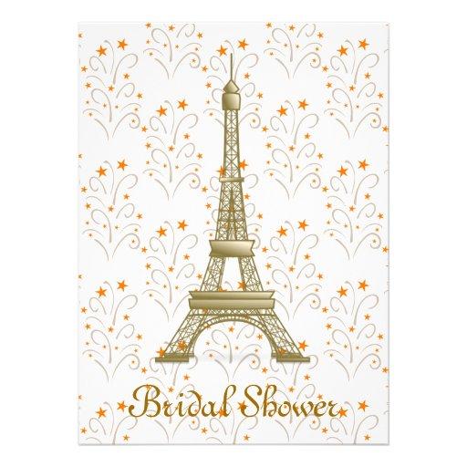 Paris Eiffel Tower Scroll Pattern Bridal Shower Custom Announcements