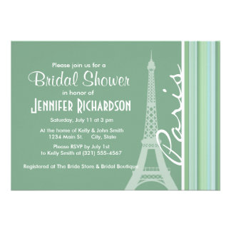 Paris Eiffel Tower Seafoam Sage Green Invites