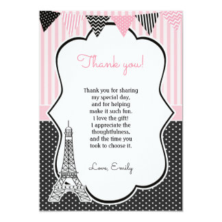 Paris Eiffel Tower Thank You Card 13 Cm X 18 Cm Invitation Card
