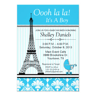 Paris Eiffel Tower Theme Baby Shower Blue 13 Cm X 18 Cm Invitation Card