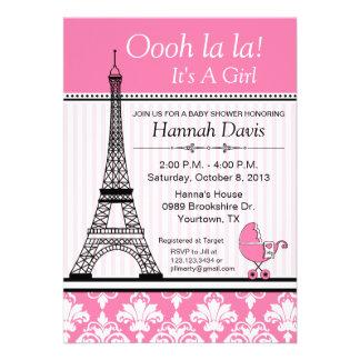 Paris Eiffel Tower Theme Baby Shower Pink Custom Announcement