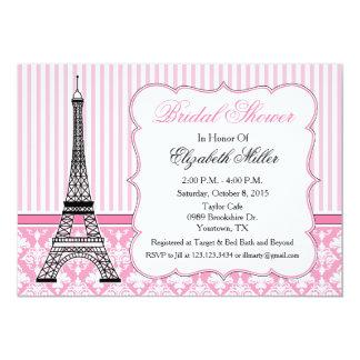 Paris Eiffel Tower Theme Party Pink 13 Cm X 18 Cm Invitation Card