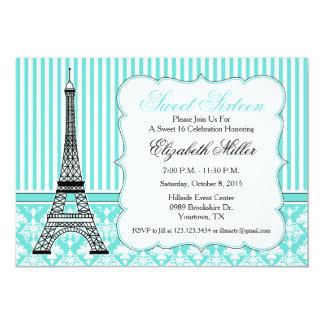 Paris Eiffel Tower Theme Party Teal 13 Cm X 18 Cm Invitation Card