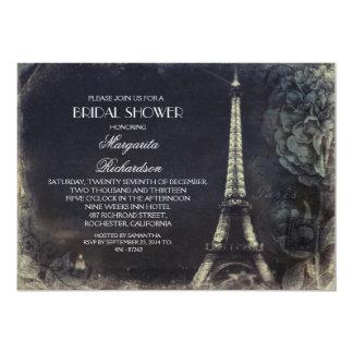 Paris Eiffel tower vintage bridal shower 13 Cm X 18 Cm Invitation Card