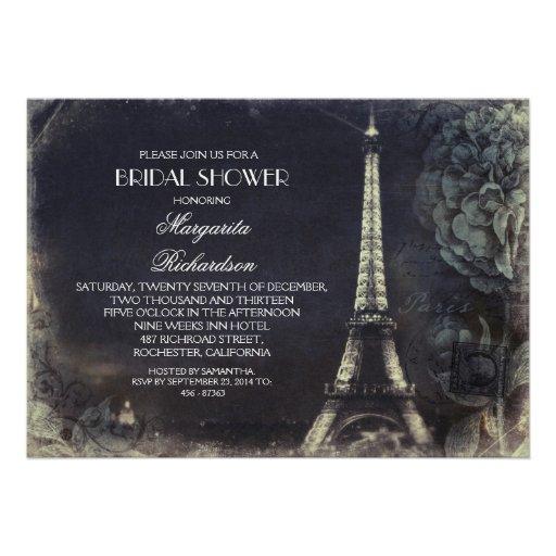 Paris Eiffel tower vintage bridal shower Card