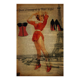 paris eiffel tower vintage corset lingerie party stationery