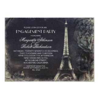 Paris Eiffel tower vintage engagement party 13 Cm X 18 Cm Invitation Card