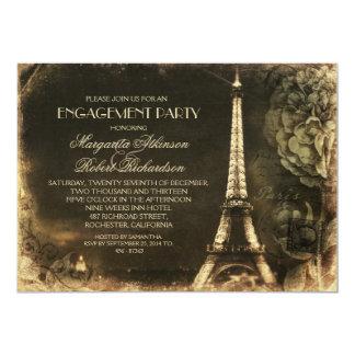 Paris Eiffel tower vintage engagement party Cards
