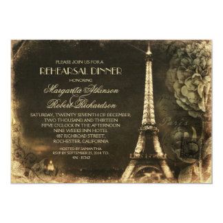 Paris Eiffel tower vintage rehearsal dinner 13 Cm X 18 Cm Invitation Card