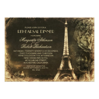 Paris Eiffel tower vintage rehearsal dinner Personalized Invite