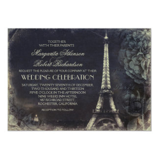 Paris Eiffel tower vintage wedding invitations