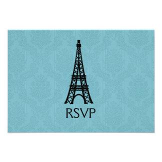 Paris Eiffel Tower  Wedding RSVP Cards Custom Invitation