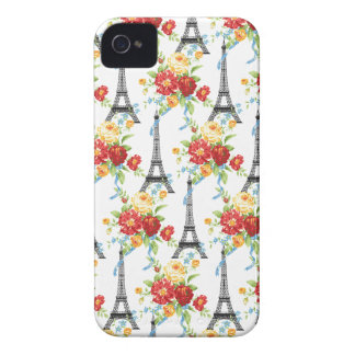 Paris Floral Eiffel Tower on White Case-Mate iPhone 4 Cases