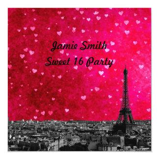 Paris France Skyline #1 Hot Pink Red Sweet 16 SQ 13 Cm X 13 Cm Square Invitation Card