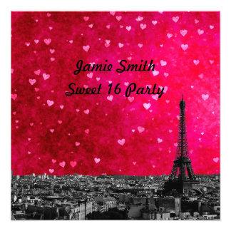 Paris France Skyline #1 Hot Pink Red Sweet 16 SQ Invite